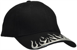 DS-4081 HEAVY BRUSHED COTTON BASEBALL CAP, VELCRO REAR ADJUSTER WITH DESIGNED CHROME LIQUID FLAME FEATURE ON THE PEAK. AVALABLE IN BLACK OFF THE SHELF OR CAN BE CUSTOMED TO YOUR YOUR COLOURS..