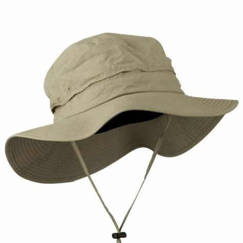 Khaki Washed Mesh Unisex Bucket Hat , Anti - Wrinkle Fisherman Bucket Hat With String